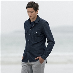 Magee 1866 Navy Drumbar Washed Denim Tailored Fit Shirt