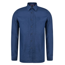 Magee 1866 Indigo Delvin Washed Irish Linen Tailored Fit Shirt