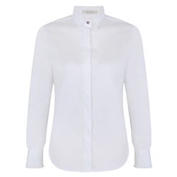 White Tracy Stretch Concealed Button Placket Tailored Fit Shirt