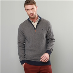 Magee 1866 Grey & Navy Cashelenny Birdseye Cotton 1/4 Zip Sweater