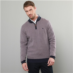 Magee 1866 Lilac & Navy Cashlenny Birdseye Cotton 1/4 Zip Sweater