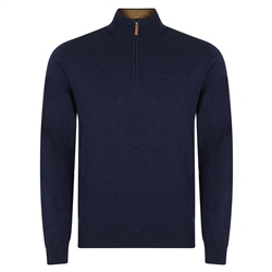 Magee 1866 Navy Carn Cotton 1/4 Zip Neck Jumper
