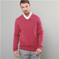Magee 1866 Fuchsia Carn Cotton V-Neck Jumper