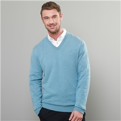 Magee 1866 Aqua Carn Cotton V Neck Jumper