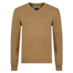 Magee 1866 Brown Carn Cotton V Neck Jumper