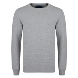Magee 1866 Grey Faugher Ribbed Structure Crew Neck Jumper