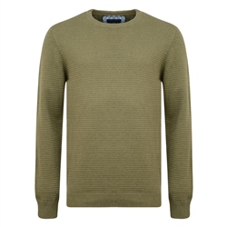 Magee 1866 Green Faugher Ribbed Structure Crew Neck Jumper