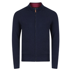 Magee 1866 Navy Keadew Cotton Structure Full Zip Sweater