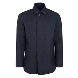 Navy Delvin Herringbone Water Resistant Mac