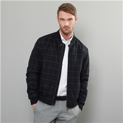Magee 1866 Navy & Grey Fincashel Checked Donegal Tweed Bomber Jacket