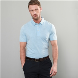 Magee 1866 Blue Rahan Jacquard Tailored Fit Polo Shirt