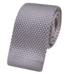 Magee 1866 Silver Knitted Silk Tie