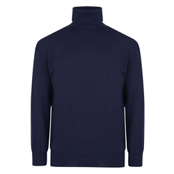 Magee 1866 Navy Merino Wool Roll Neck Jumper