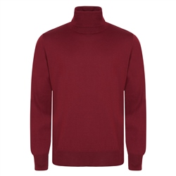 Magee 1866 Burgundy Merino Wool Roll Neck Jumper