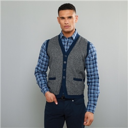 Navy Darney Donegal Tweed Knitted Waistcoat