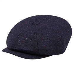 Magee 1866 Navy Salt & Pepper Donegal Tweed Baker Cap