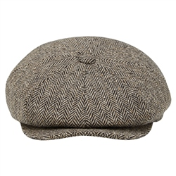 Magee 1866 Brown Herringbone Donegal Tweed Baker Cap