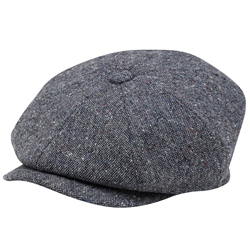 Magee 1866 Grey Salt & Pepper Donegal Tweed Baker Cap