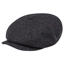 Magee 1866 Black Salt & Pepper Donegal Tweed Baker Cap