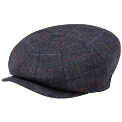 Magee 1866 Grey Check Donegal Tweed Baker Cap