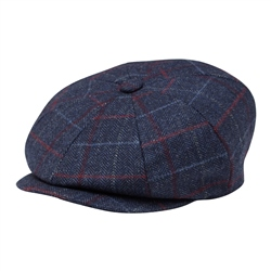 Magee 1866 Blue Check Donegal Tweed Baker Cap