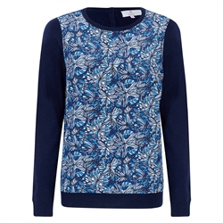 Magee 1866 Navy Chloe Liberty Print Panel & Cashmere Blend Jumper