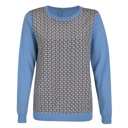 Blue Chloe Print Panel Jumper