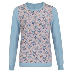 Blue Chloe Liberty Print Panel Jumper