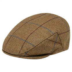 Magee 1866 Light Brown Windowpane Checked Flat Cap