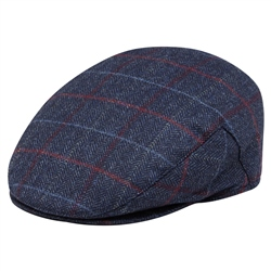 Magee 1866 Blue Check Donegal Tweed Flat Cap