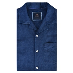 Magee 1866 Navy Cormullin Linen Blend Tailored Fit Short Sleeve Washed Shirt