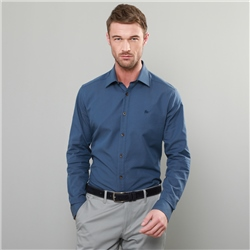 Magee 1866 Navy Drumfin Jacquard Tailored Fit Shirt
