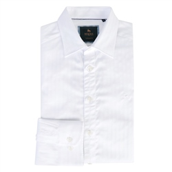 Magee 1866 White Drumfin Jacquard Tailored Fit Shirt