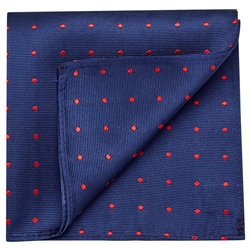 Magee 1866 Blue & Red Silk Polka Dot Pocket Square