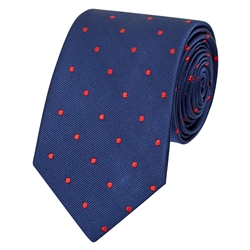 Magee 1866 Blue & Red Polka Dot Silk Tie