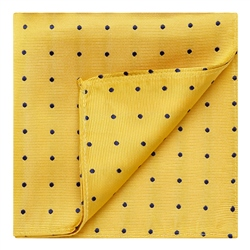 Magee 1866 Yellow & Blue Polka Dot Silk Pocket Hankie