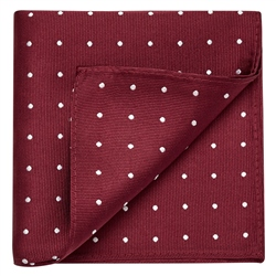 Magee 1866 Burgundy & White Polka Dot Silk Pocket Square