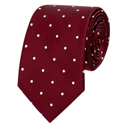 Magee 1866 Burgundy & White Polka Dot Silk Tie