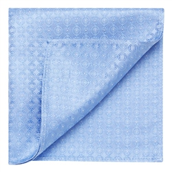 Magee 1866 Blue Circles Geometric Woven Silk Pocket Square