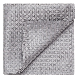 Magee 1866 Grey Circles Geometric Woven Silk Pocket Square