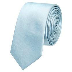 Silver Blue Thin Satin Silk Tie