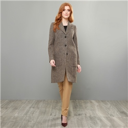 Magee 1866 Camel & Brown Emma Donegal Tweed Herringbone Coat