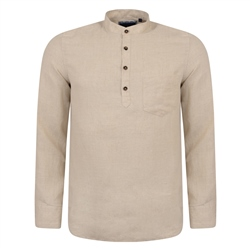 Magee 1866 Irish Made - Oat Linen Corlea Grandfather Classic Fit Shirt