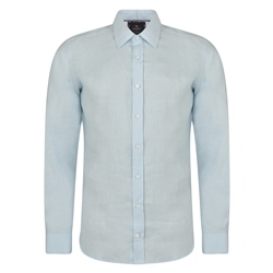 Magee 1866 Irish Made - Baby Blue Dunross Linen Tailored Fit Shirt