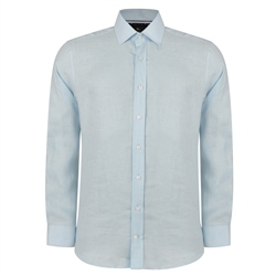 Magee 1866 Irish Made - Baby Blue Linen Kilbeg Classic Fit Shirt