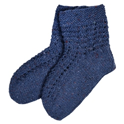 Magee 1866 Blue Handknit Slipper Socks
