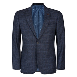 Navy-Blue Check Tweed 3-Piece Tailored Fit Suit