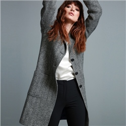 Magee 1866 Black & White Emma Herringbone Donegal Tweed Coat