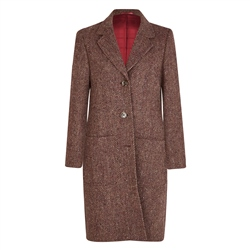 Magee 1866 Camel & Mulberry Herringbone Donegal Tweed Boyfriend Coat