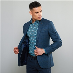 Blue Checked Donegal Tweed Classic Fit Jacket